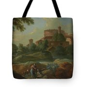 Soldiers And Dogs Near A River Tote Bag