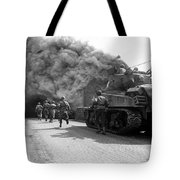 Soldiers Move Through A Smoke Filled Tote Bag