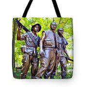 Soldiers Statue At The Vietnam Wall Tote Bag