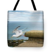Solitary Seagull Take-off Tote Bag