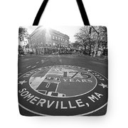 Somerville Ma Davis Square 175 Years Black And White Tote Bag