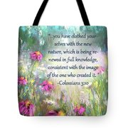 Song Of The Flowers With Bible Verse Tote Bag