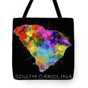 South Carolina Map Color Splatter 2 Tote Bag