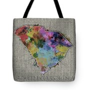 South Carolina Map Color Splatter 5 Tote Bag