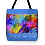 South Dakota Map Color Splatter 3 Tote Bag