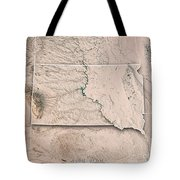 South Dakota State Usa 3d Render Topographic Map Neutral Border Tote Bag
