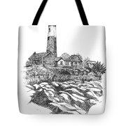 South Fork Lighthouse L I N Y  Bw Tote Bag