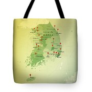 South Korea Map Square Cities Straight Pin Vintage Tote Bag