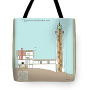 South Manitou Island Lighthouse Color Drawing Tote Bag