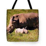 Southern White Rhino With A Little One Tote Bag