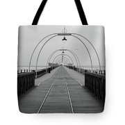 Southport Pier At Sunset With Walkway And Tram Lines Tote Bag