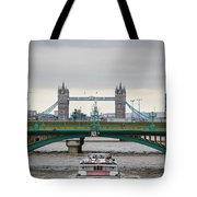 Southwark Bridge And The Tower Bridge Tote Bag