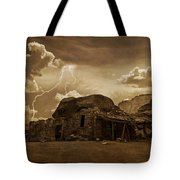 Southwest Navajo Rock House And Lightning  Tote Bag