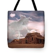 Southwest Navajo Rock House And Lightning Strikes Tote Bag