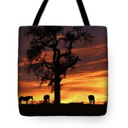 Southwestern Sunrise Color, Silhouetted Oak Tree And Three Horses Tote Bag