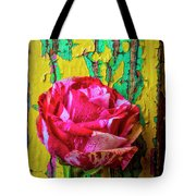 Soutime Rose Against Cracked Wall Tote Bag