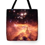 Space Image Orange And Red Star Cluster With Blue Stars Tote Bag