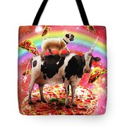Space Pug Riding Cow Unicorn - Pizza And Taco Tote Bag