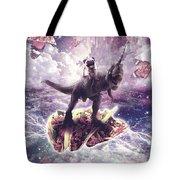 Space Pug Riding Dinosaur Unicorn - Pizza And Taco Tote Bag
