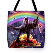 Space Pug Riding Dinosaur Unicorn - Taco And Burrito Tote Bag