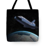 Space Shuttle Backdropped Against Earth Tote Bag