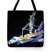 Space Shuttle With Hubble Telescope Tote Bag