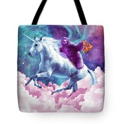 Space Sloth On Unicorn - Sloth Pizza Tote Bag