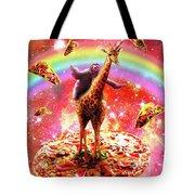Space Sloth Riding Giraffe Unicorn - Pizza And Taco Tote Bag