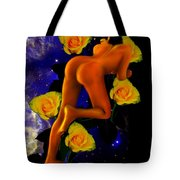 Spacelady On Yellow Roses Tote Bag