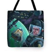 Spaceman With Space Station Orbiting Green Planet Tote Bag
