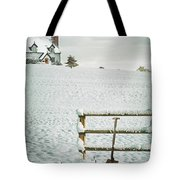 Spade Leaning Against Fence In The Snow Tote Bag