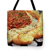 Spaghetti And Meat Sauce With Garlic Toast  Tote Bag by Andee Design