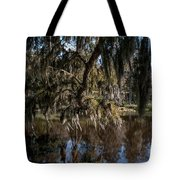 Spainsh Moss Hanging Over Pond On Middleton Place Tote Bag