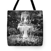 Spanish Moss Fountain With Bromeliads - Black And White Tote Bag