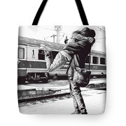Sparkle At The Train Station - Ballpoint Pen Art Tote Bag