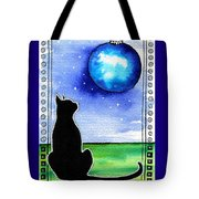Sparkling Blue Bauble - Christmas Cat Tote Bag
