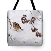Sparrow In The Winter Snow Tote Bag