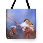 Sparrow In Winter Tote Bag