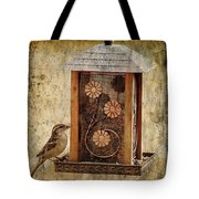 Sparrow On The Feeder Tote Bag