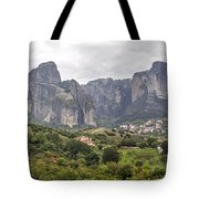Spectacular Meteora Rock Formations Tote Bag