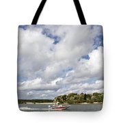 Speedy Red Boat Tote Bag