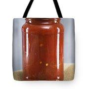 Spicy Salsa In Clear Glass Jar Tote Bag
