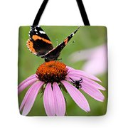 Spider And Butterfly On Cone Flower Tote Bag