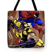 Spider And The Wolverine Tote Bag