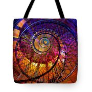 Spiral Spacial Abstract Square Tote Bag