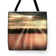 Spiritual Sunset Above A Mountain Lake Tote Bag