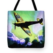 Spitfire In The Clouds H B Tote Bag