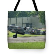 Spitfire On The Ground Tote Bag