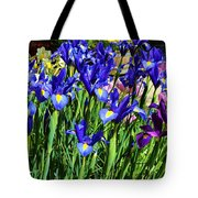 Vivid Blue Iris Flowers Tote Bag