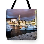 Split Harbor Night View In Croatia Tote Bag